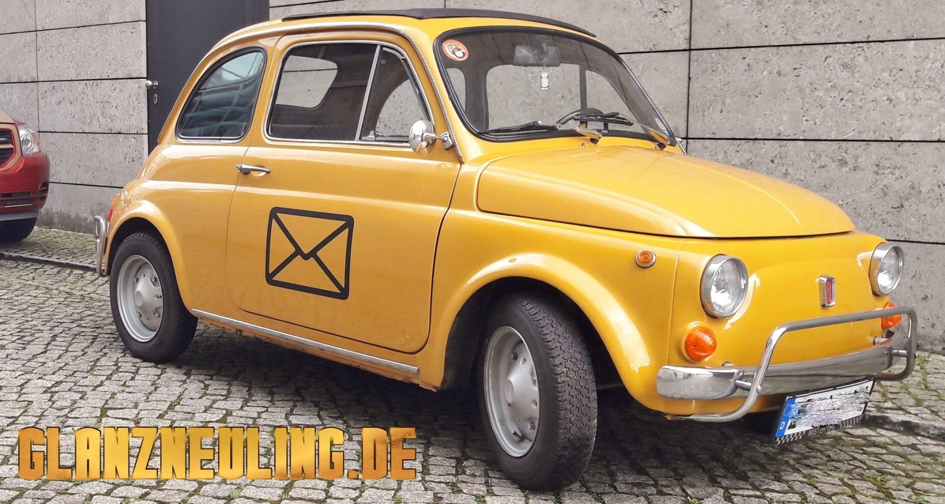 Fiat 500 mieten als gelbes Postauto