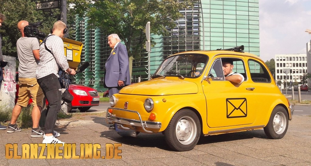 Fiat 500 gelber OLdtimer mieten Berlin, Videoshooting